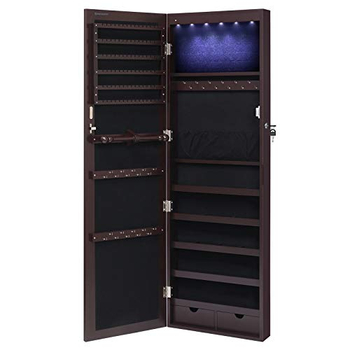 SONGMICS 6 LEDs Cabinet Lockable 47.3' H Wall/Door Mounted Jewelry Armoire Organizer with Mirror, 2...
