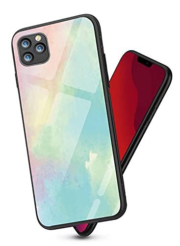 Suhctup Color Funda Vidrio Templado Compatible con Xiaomi Redmi Note 9,Parachoques de Silicona TPU Suave Anti-caída Renderizado Anti-Rasguños Vidrio Templado Moda Carcasas