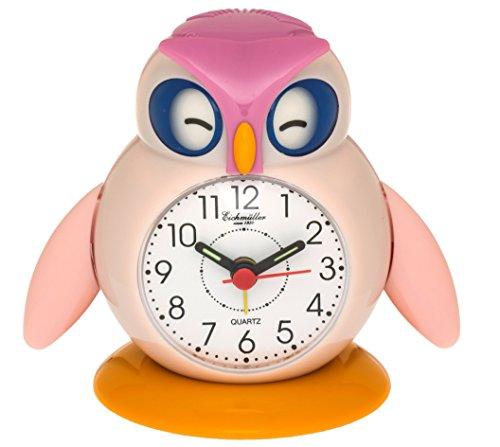 Eichmüller Kinderwecker Eule rosa Analogwecker mit Alarm Snooze und Licht