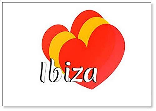 Hart Vorm Elementen met Kleuren van de Nationale Vlag van Spanje met Inscriptie: Ibiza Koelkast Magneet