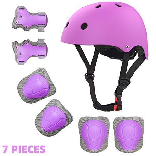 Toddler Helmet and Pads for 2-8 Years Adjustable Kids Bike Helmet Knee Elbow Pads and Wrist Guards for Skateboarding Roller Blading Scooter Riding Bicycling Skating and More (Purple, S)