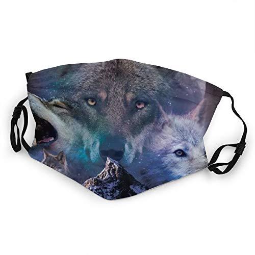 Kinder-Mundschutz heulender Wolf Nacht Wald Wölfe waschbar verstellbare Gesichtsabdeckung