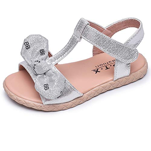 LB LAWBUCE Toddler Little Girls Glittery Sandals Baby Girls Bow Princess Summer Dress Shoes (11 Little Kid, Silver)
