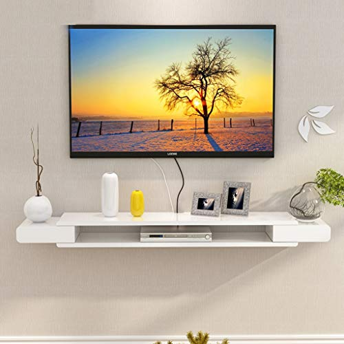 Wandplank Drijvende Plank Wandmontage TV Kast TV Plank Set Top Box Router Foto Speelgoed Opslag Plank TV Console TV Stands Wanddecoratie Plank, White-1.3m