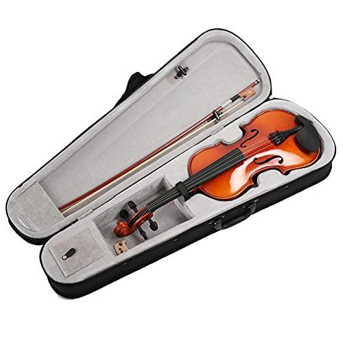 4/4 Violino de madeira maciça - Conjunto de violino artístico de cor natural com caixa rígida, arcos, pontes e resina - Especificação ajustável Instrumento de cordas para crianças alunos iniciantes
