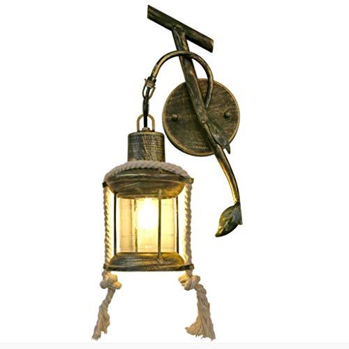 WJLL E27 Apliques de Pared Retro Industrial lámpara de Pared de Queroseno de Hilo Tejido a Mano Antigua Luz de Pared de Hierro Forjado lámpara de Noche para Entrada,Pasillo,iluminación de Dormitorio