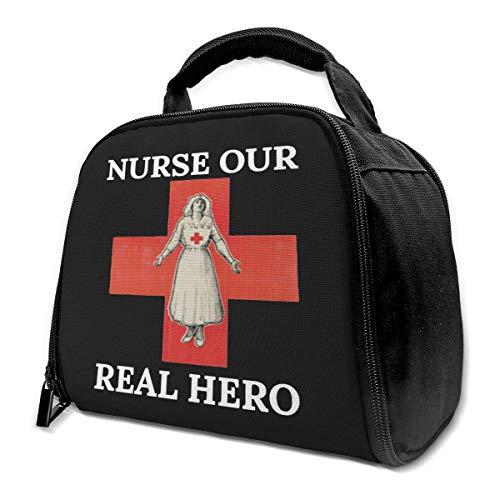 Nurse Our Real Hero Isolierte Lunchtasche Isolierte Lunchbox Tote Bag Kühltasche für Picknick Arbeit