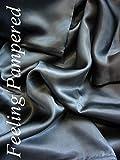 Feeling Pampered 4 Pcs Luxurious 100% Mulberry Silk Charmeuse Sheet Set King Dark Gray Half of...