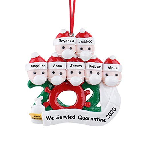 Anycosy Christmas Ornaments 2020 Quarantine Survivor Family Customized Christmas Decorating Set Christmas Tree Hanging Home Decorations DIY Creative Gift for Family (Family of 7)
