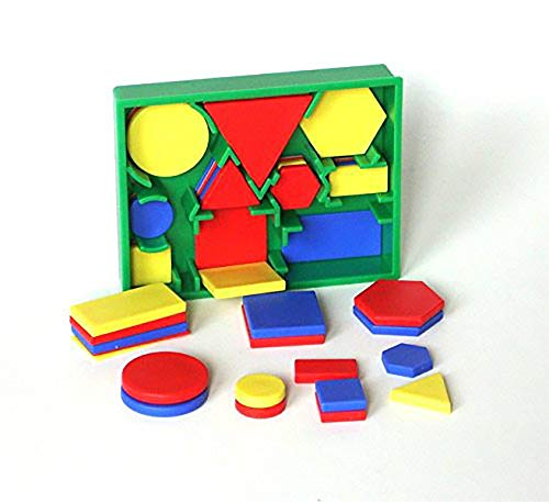 edx education 2D Shape Activity - Mini Pocket Set - Circles, Triangles, Squares, Rectangles, Hexagons,Red, Green, Blue, Yellow