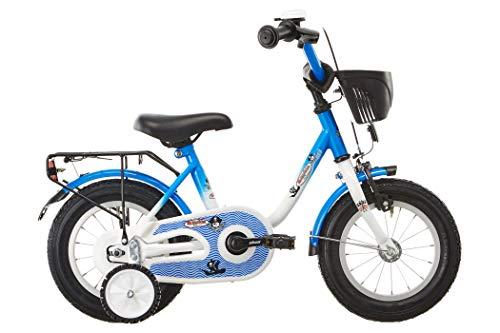 """Vermont Kinder-Fahrrad Kapitän 12""""   1-Gang Kinder-Rad, Stützräder, Klingel und Fahrrad-Korb in Weiß-Blau"""
