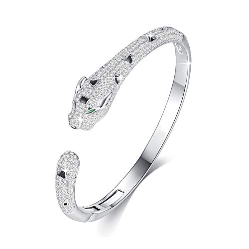 Panther Bangle Bracelet for Women with Top Cubic Zirconia Cuff Jewelry by Vicision - VB11 Silver