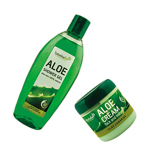 Pack Tabaibaloe Crema Hidratante Aloe Vera y Gel de Ducha Aloe Vera Crema Facial y Corporal 300 ml y Gel de baño 250 ml Tabaibaloe