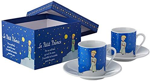 LE PETIT PRINCE 525512 Set 2 Tasses Lpp Nuit Etoilée Boite, Céramique, Bleu Marine, 5 cm