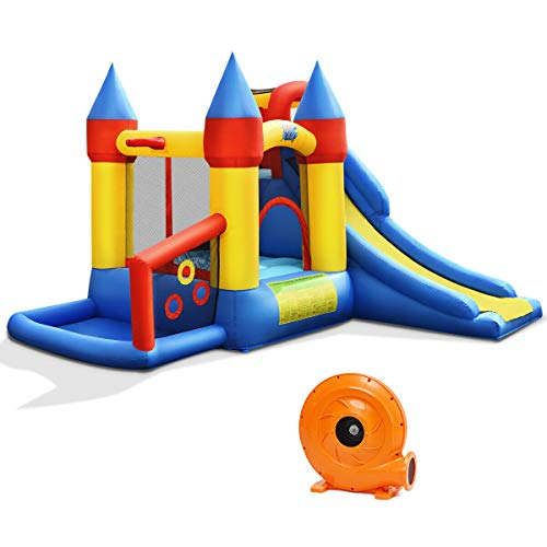 BOUNTECH Inflatable Bounce House, 6-in-1 Castle Bouncer w/ Long Slide, Jumping Area, Basketball Rim, Ball Playing Area, Including 50PCS Balls, Carry Bag, Repair Kit, Stakes (with 780W Air Blower)