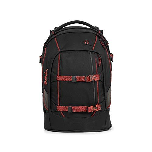 satch Pack Black Volcano, ergonomischer Schulrucksack, 30 Liter, Organisationstalent, Schwarz/Rot