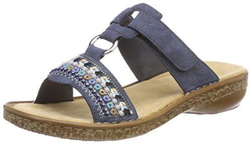Rieker Damen Sandalen 628M6, Frauen Clogs, Pantoletten, Women Woman Freizeit leger Slipper Slides hauschuh Dame-n,baltik / 14,39 EU / 6 UK