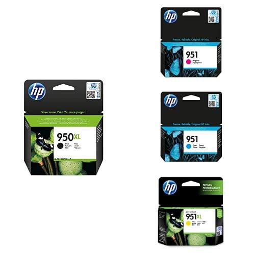 HP 950XL/951XL Cartucho de Tinta Original, pack de 4 unidades, negro, cian, magenta y amarillo