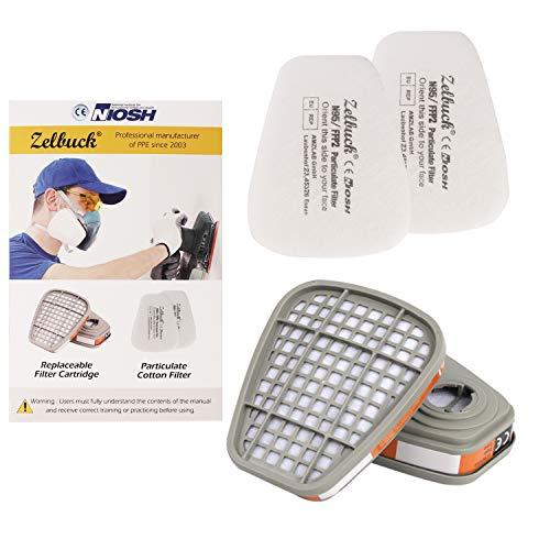 Zelbuck Filter gegen Organische Dämpfe, Filterbaumwolle (1 Paar/ 2 Stück) + Filter (1 Paar/2 Stück) für Handwerker, Heimwerker, Farbspritz und Pestizid usw