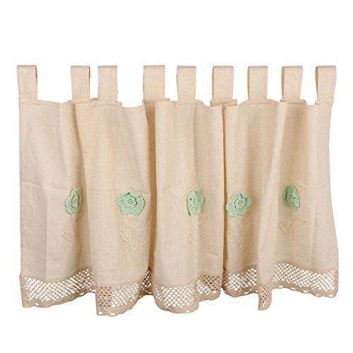 Nvfshreu landelijke stijl korte kant bloemen raam gordijn haken van linnen eenvoudige stijl beige grootte selecteerbaar beige 60 * 150cm