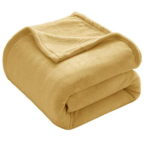 VEEYOO Flanell-Fleece-Bettdecke – Luxuriöse leichte Tagesdecke, Decken für alle Jahreszeiten, Plüsch, warm, solide Decken für Bett, Couch, Sofa, Zwillings-/Doppelbettgröße, 150 x 200 cm, gelb