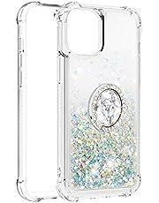 Vloeibare Sparkly Quicksand TPU Gel Siliconen Shockproof Telefoon Cover [Diamond Ring] Gevallen voor iPhone 12 Pro Max (6,7 inch) (Zilver)