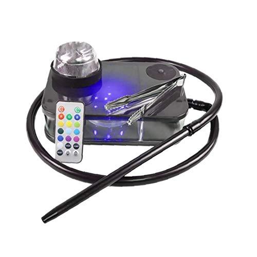 Moderne Acryl Huka komplette Kit Portable Shisha Nargile Rauchen Wasserpfeife mit Fernbedienung Licht Box (Schwarz)