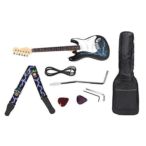 Elektrische gitaar set, bliksem patroon gitaar set met audio kabel draagtas schouderriem Beginner praktijk