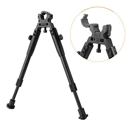 BESTSIGHT Clamp-on Bipod for Rifles 6-9 inch Folding Hard Bipod Adjustable Height Rubber Feet Metal Universal Mount