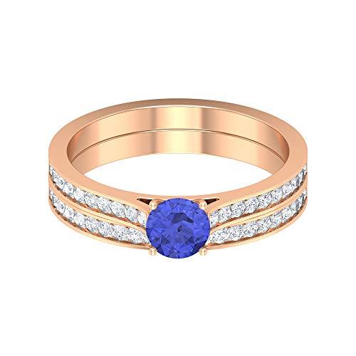 HI-SI Anillo de diamante y tanzanita, 5 mm, anillo solitario con banda, anillo de piedra lateral dorada (calidad AAA), oro rosa de 14 quilates, tamaño: UK Z+2
