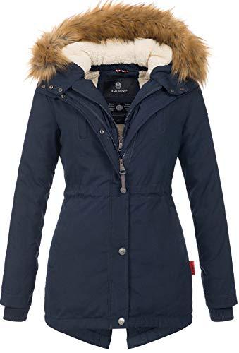 Marikoo Designer Damen Winter Parka warme Winterjacke Mantel Jacke B601 [B601-Akira-Navy2-Gr.S]
