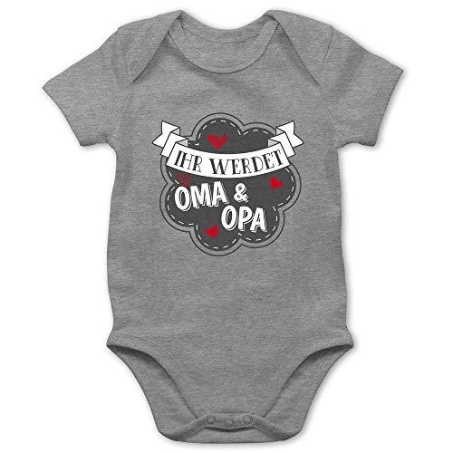 Shirtracer Sprüche Baby - Ihr werdet Oma und Opa - 1/3 Monate - Grau meliert - Strampler Ihr werdet großeltern - BZ10 - Baby Body Kurzarm für Jungen und Mädchen