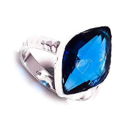 Impresionante anillo chapado en plata con piedras preciosas marqués de corte de diamante Iolita
