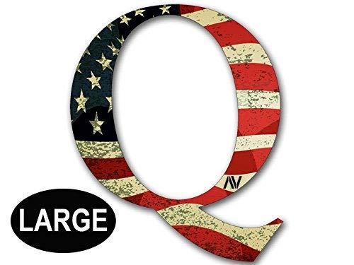 Large Q Shaped Vintage American Flag Sticker (qanon anon Trump Big us USA)