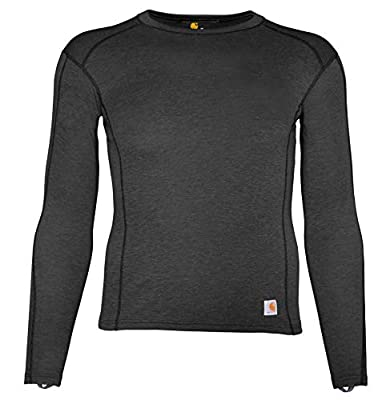 Carhartt Men's Force Heavyweight Polyester-Wool Base Layer Long Sleeve Shirt, Dark Black Heather, X-Large