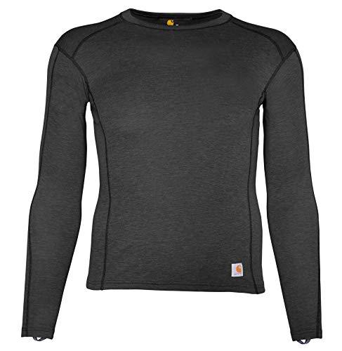 Carhartt Size Men's Force Heavyweight Polyester-Wool Base Layer Long Sleeve Shirt, Dark Black Heather, Large Tall