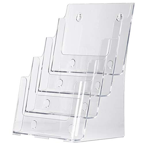 MaxGear Acrylic Brochure Holder 8.5 x 11 inch, Clear Literature Organizer Magazine Stand with Removable Divider for 4 x 9 inch Brochures, 4 Tier Pamphlet Display for Wall Mount or Countertop