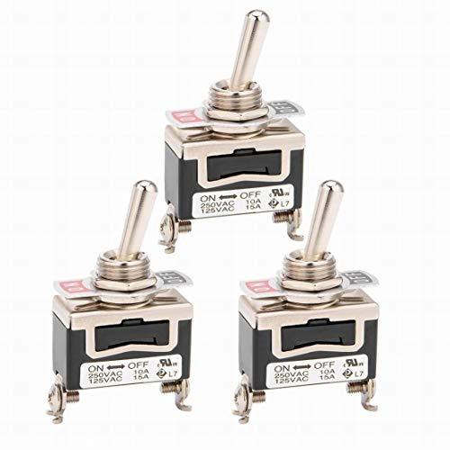 3Pcs AC 125V / 15A 250V / 10A ON-Off-ON 3P 3 terminales enclavamiento interruptor de palanca SPDT