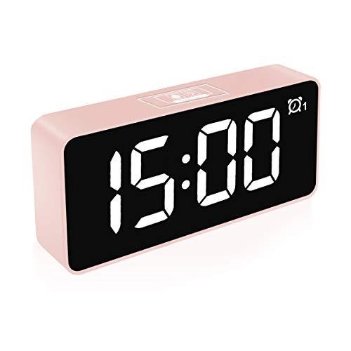 """HOMVILLA Digitaler Wecker, 4,6"""" LED-Display-Uhren mit Sprachsteuerung Funktion, USB Ladeanschluss, Snooze, 25 Weckerlieder, Speicher Batterie, 3 Helligkeit und Lautstärke Regelbar, 12/24 HR (Rosa)"""