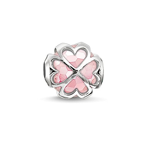 Thomas Sabo Damen-Bead Kleeblatt Karma Beads 925 Sterling Silber Rosenquarz facettiert pink K0170-034-9