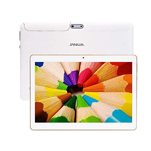 JANWIL Tablet Android 9.0 Touch mit 10 Zoll Quad-Core-RAM 4 GB ROM 64 GB Kamera 5 MP + 8 MP/WLAN/GPS/Typ C / 6000 mAh Akku/Dual-SIM-Karte Lamada 3G Tablet (Weiß)