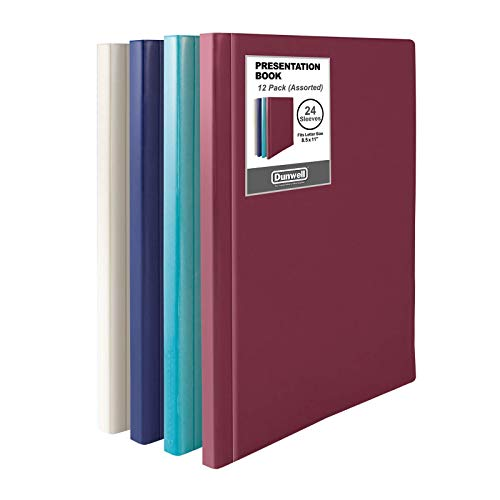 """Dunwell Binders with Plastic Sleeves - (Assorted 4 Colors, 12 Pack), 24-Pocket Bound Presentation Books with Clear Sleeves, Sheet Protector Binders Display 48 Pages of 8.5x11"""" Certificates, Portfolio"""