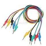 NGHSDO Pinzas Cocodrilo 5 PCS Cable de Prueba de Silicona de Doble plátano de 4 mm de 4 mm para multímetro 1m 5 Colores envío de Gota Pinza Cocodrilo