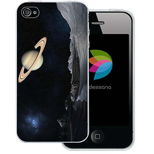 dessana Universum transparente Schutzhülle Handy Case Cover Tasche für Apple iPhone 4/4S Weltraum Saturn