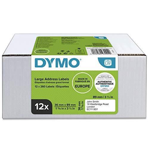 Dymo LW-Adressetiketten (groß) (12 Rollen mit je 260 leicht ablösbaren Etiketten (3.120 Etiketten), selbstklebend, für LabelWriter-Etikettendrucker, authentisches Produkt, 36 mm x 89 mm)