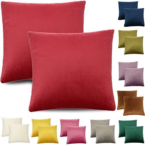 CALIYO - Funda de cojín de terciopelo, universal, 2 o 3 fundas de almohada para cojines decorativos, cojines de sofá, cojines de sofá, 45 x 45 cm, muchos colores, coral oscuro., 50 x 50 cm