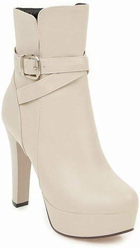 Fuxitoggo Chaussures pour Femmes - Bottes à Talons épais épais pour Femmes - Chaussures Taille 36-43 (Couleuré   Buff, Taille   41)  livraison gratuite