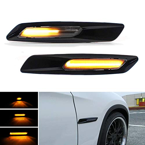 iJDMTOY F10 5-Series Style Black Trim Smoked Lens Sequential Flash Full Amber LED Fender Side Marker Light Assembly Compatible With BMW 1 3 5 Series