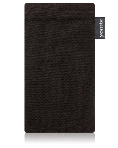 yomix CUSTODIA porta cellulare Stella marrone per Nokia Lumia 820 PureView in tessuto con funzione pulisci display grazie all?imbottitura in microfibra