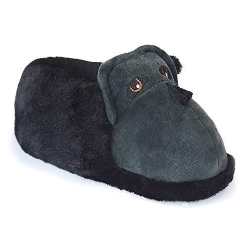 Mens/Older Boys Plush Faux Fur & Fleece 3D Novelty Gorilla Slippers UK Sizes 7-12 (UK 9-10) Black